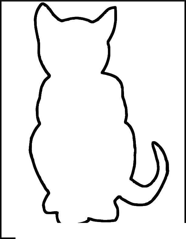 Coloring Outline sitting cat Download cat, contour.  Print ,The contour of the cat to cut,