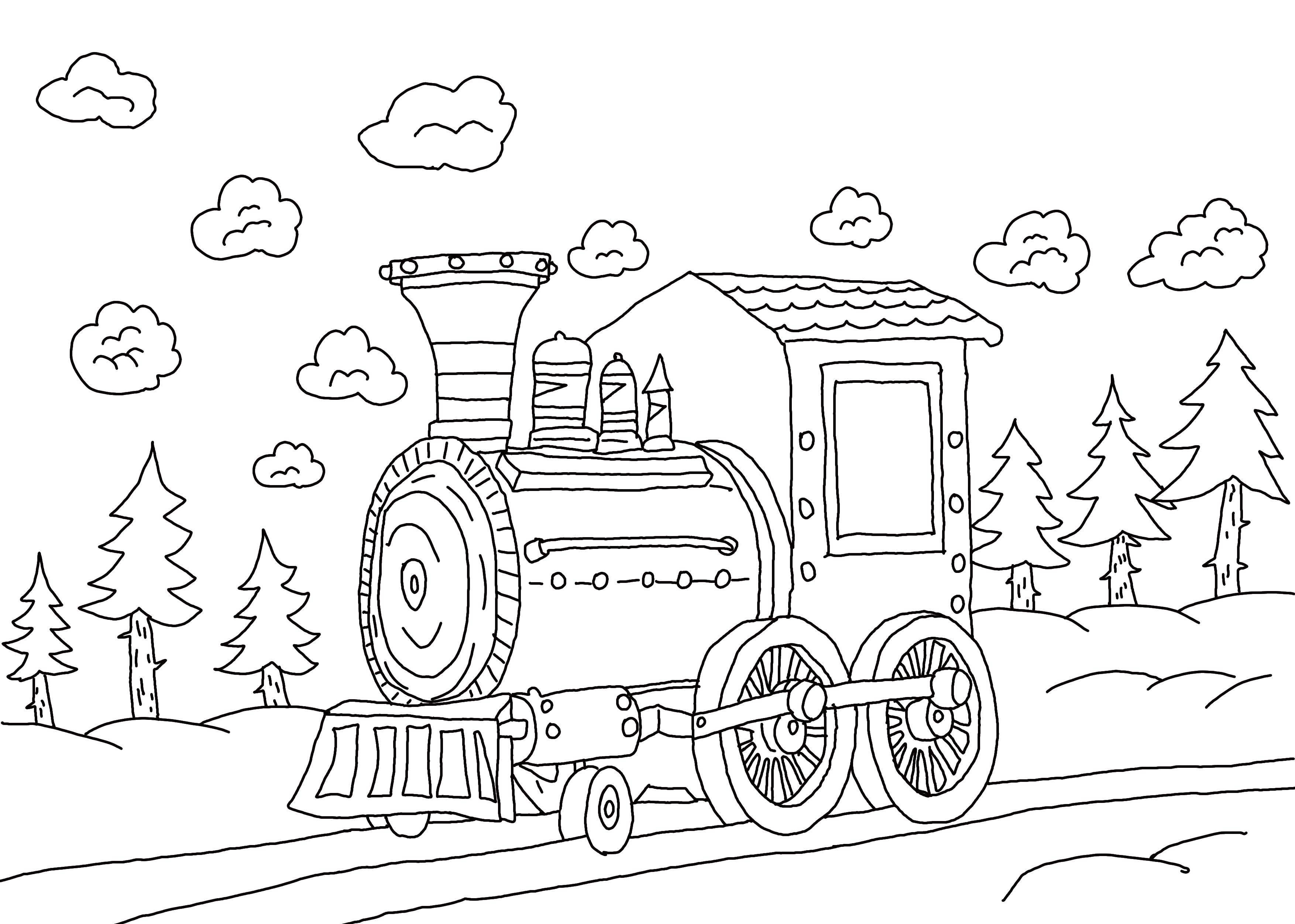 картинка раскраска паровоза сказочного упаковки, пакеты, обломки