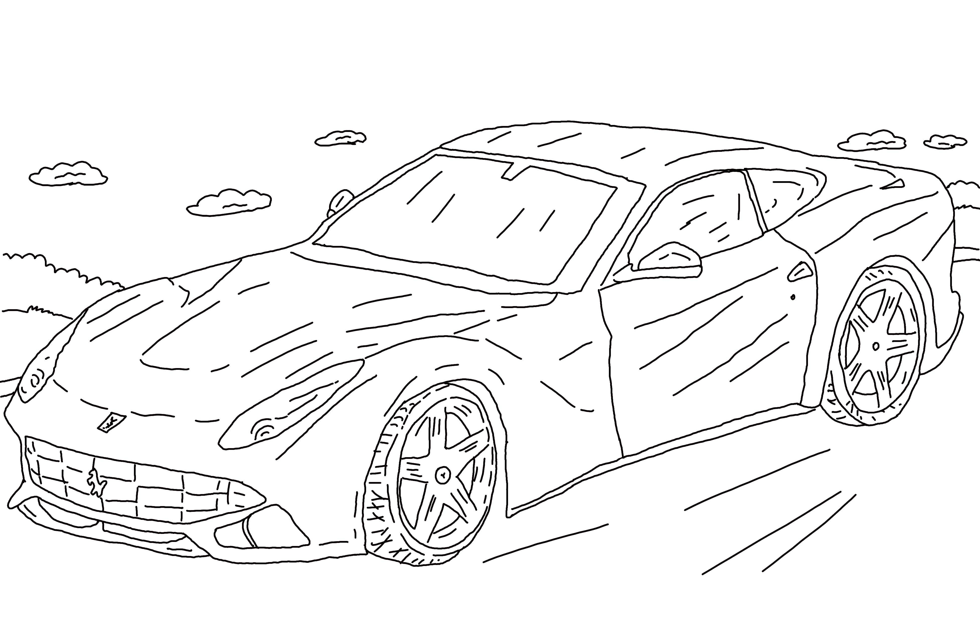 Coloring Sports car. Category machine . Tags:  the car, wheels, Bentley.