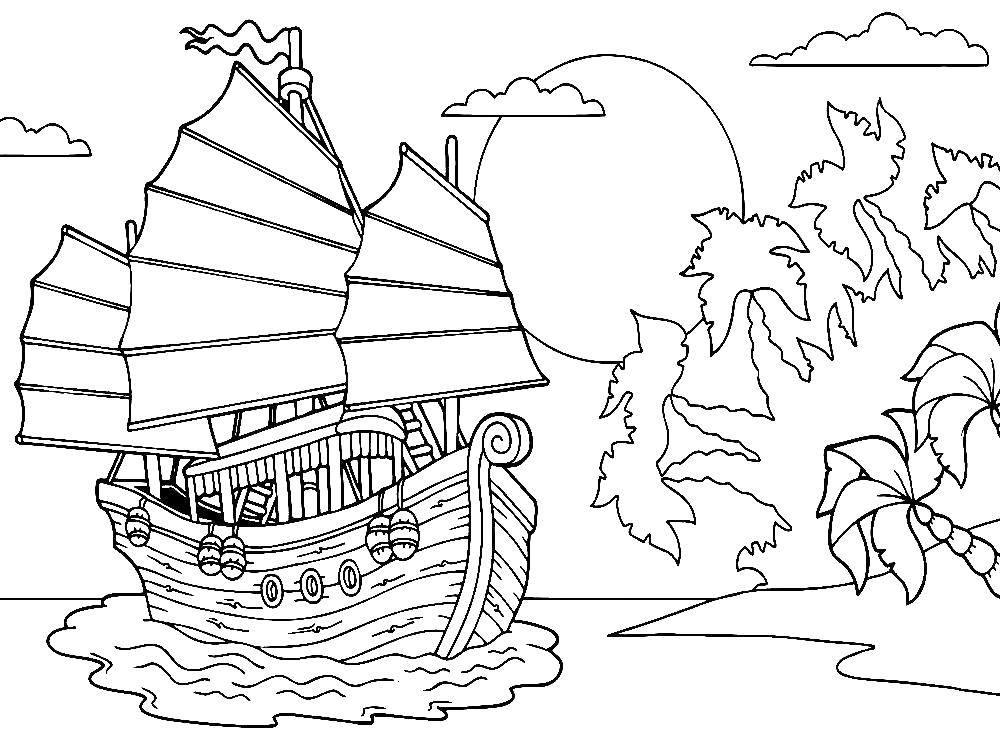 Coloring sheet ships Download .  Print