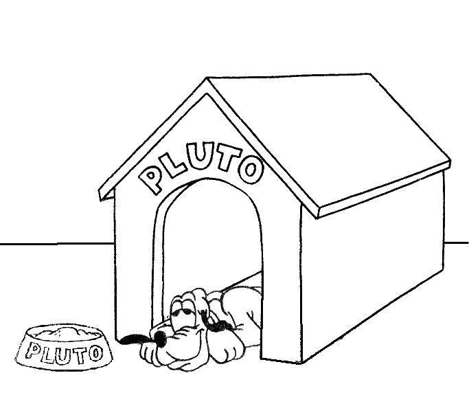 Раскраски будка, Раскраска Собака в будке Собака и будка.