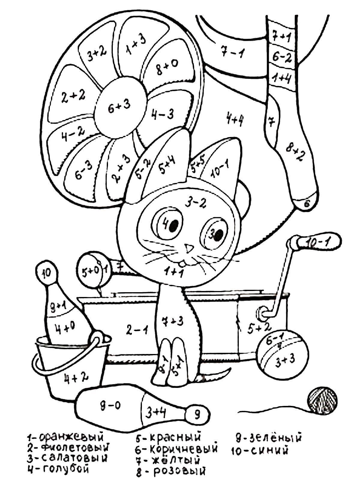Раскраска Реши примеры и раскрась картинку по номерам Скачать ,примеры, математика, кошка, номера,.  Распечатать