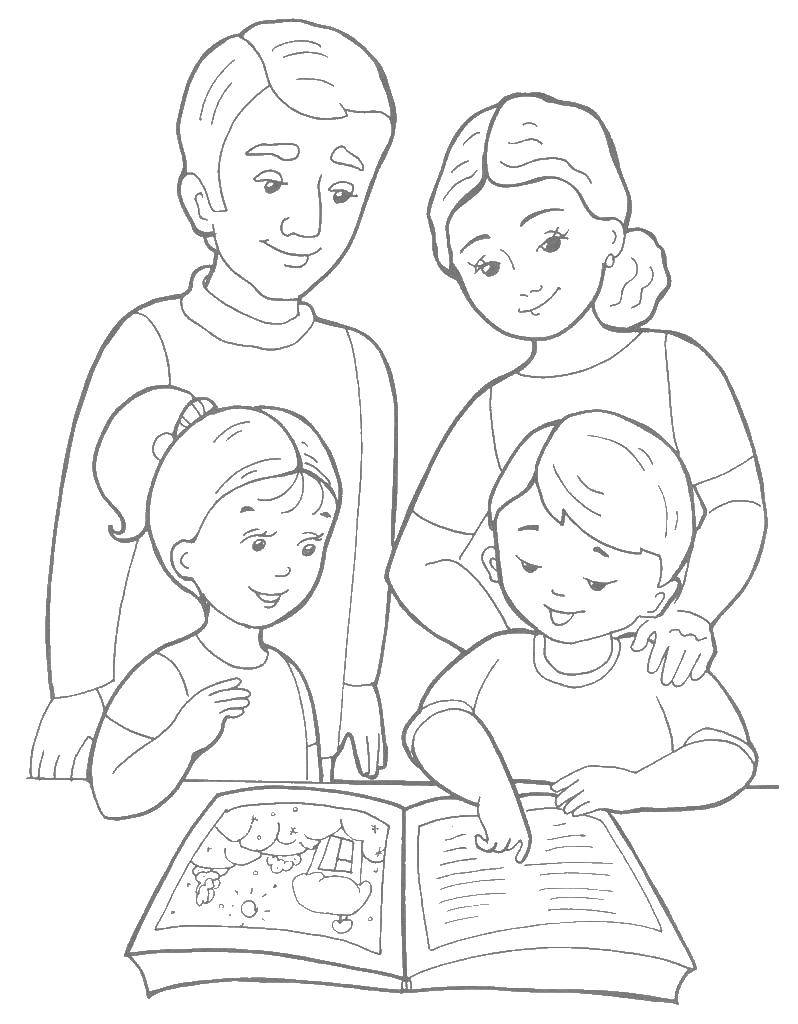 Раскраски папа, Раскраска Папа мама дети моя семья из 4 ...