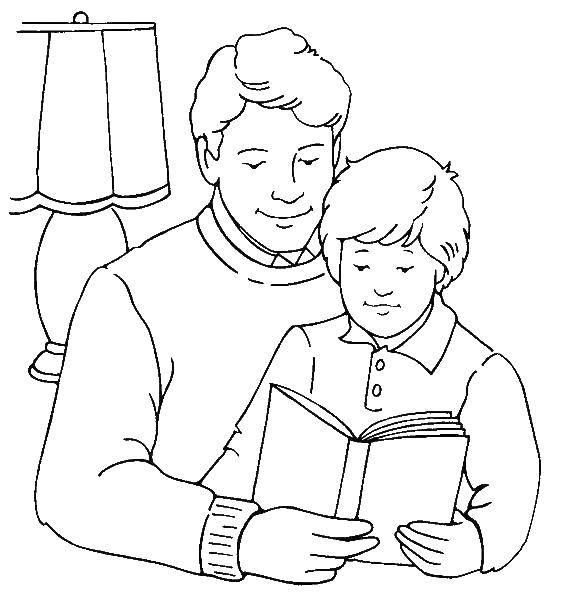 Раскраска папа Скачать ,папа, сын, книга,.  Распечатать
