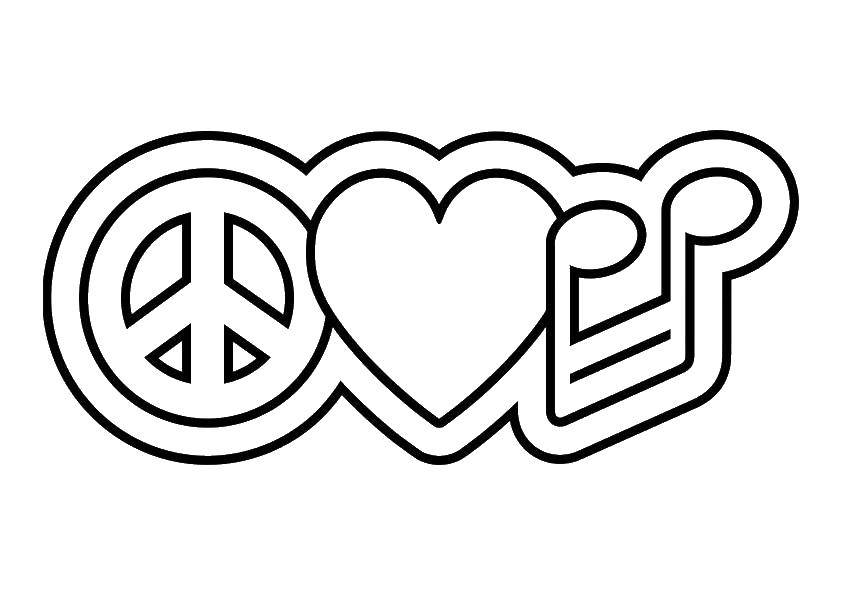 Coloring Peace sign, a heart and a note Download Sign, smile, cardio.  Print ,coloring,