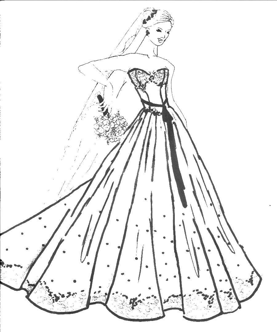 Online Coloring Pages Coloring Pagegirl In Wedding Dress With Flowers Wedding Dresses Coloring Books For Children