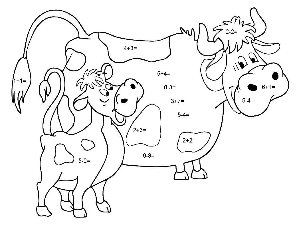 Coloring Cow and calf. Category mathematical coloring pages. Tags:  mathematics, mystery.