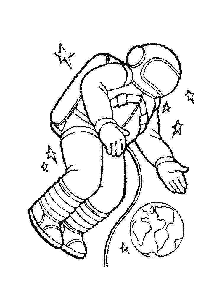 Раскраски космонавт, Раскраска Космонавт в космосе космос.