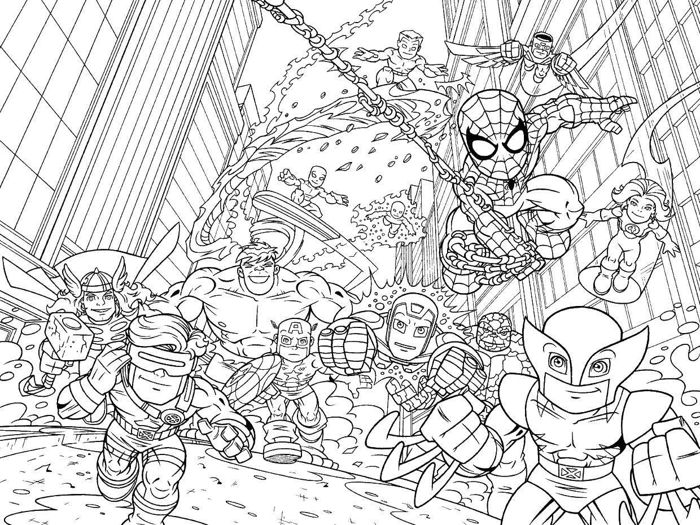 Раскраска Мини марвел супергерои Скачать ,супергерои, марвел,.  Распечатать