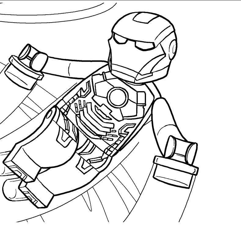 Раскраска Железный человек лего Скачать ,Конструктор, Лего,.  Распечатать