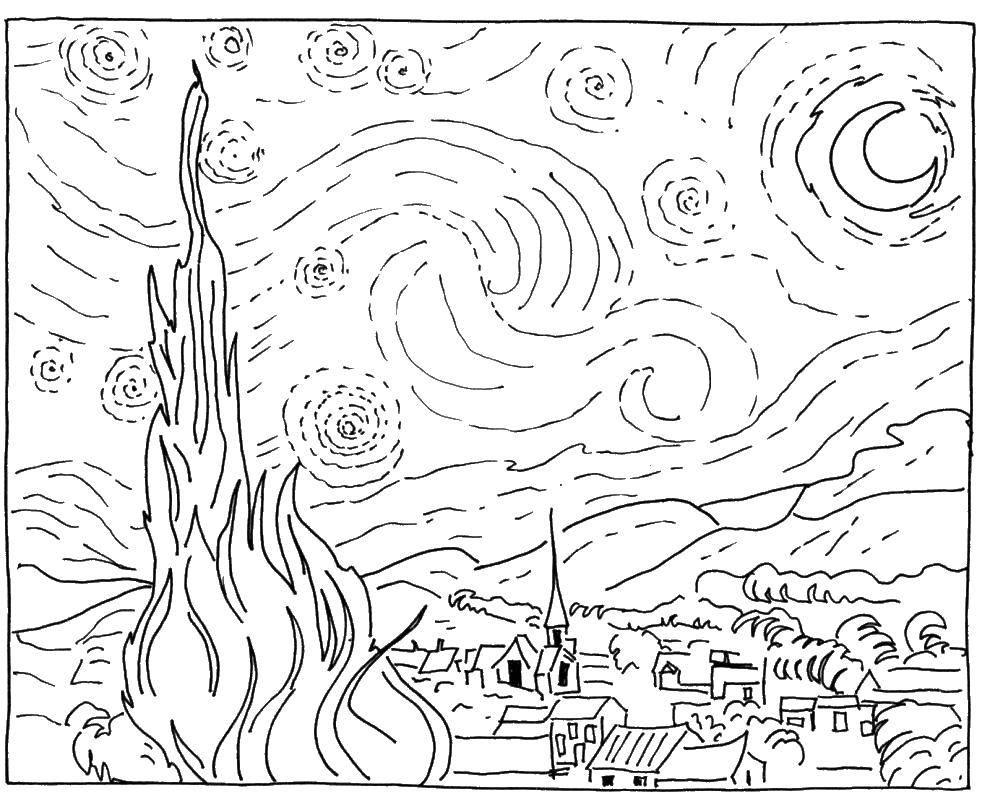 Coloring The painting starry night Download starry night painting van Gogh.  Print ,coloring,