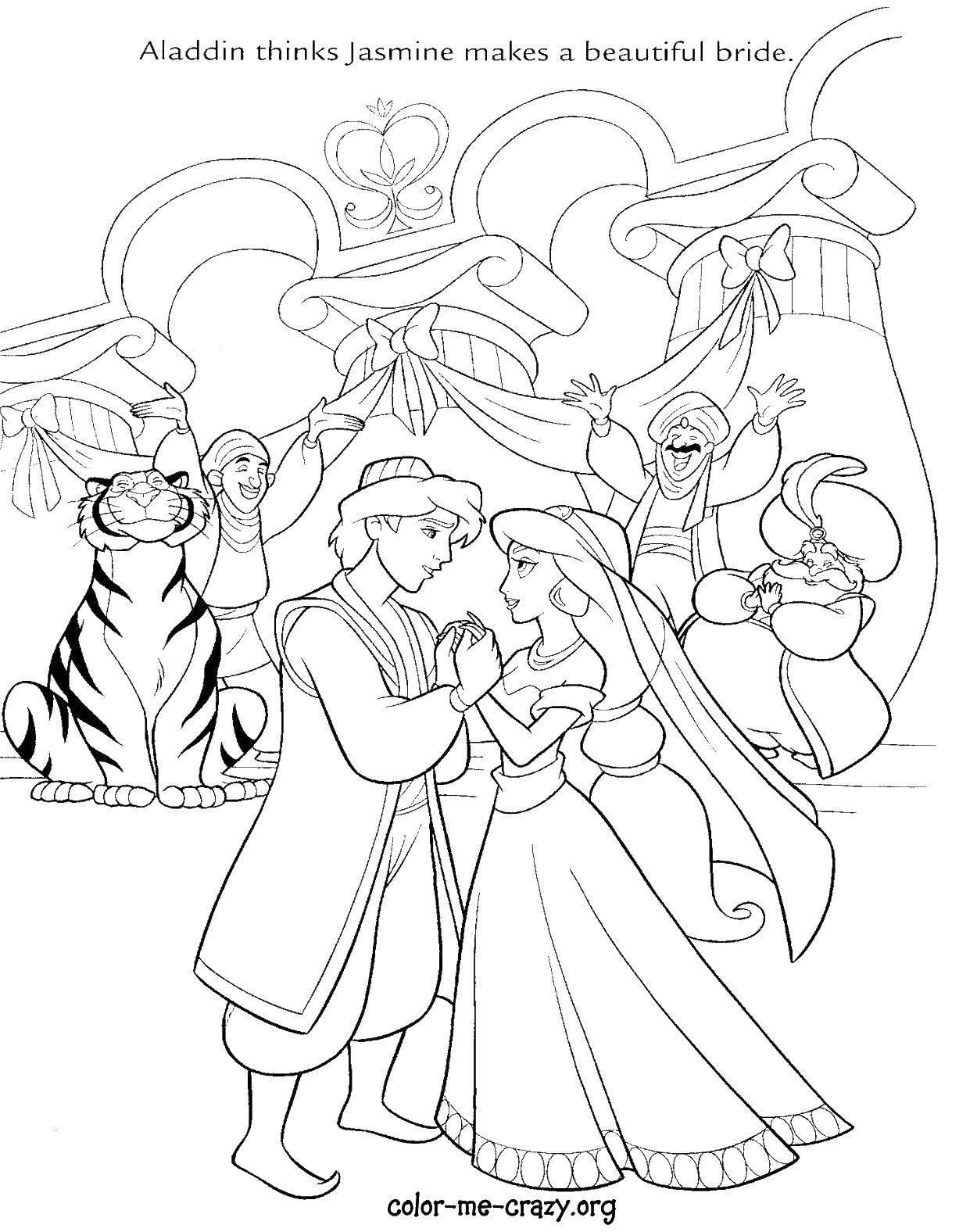 Раскраски жасмин, Раскраска Алладин и жасмин Принцессы.