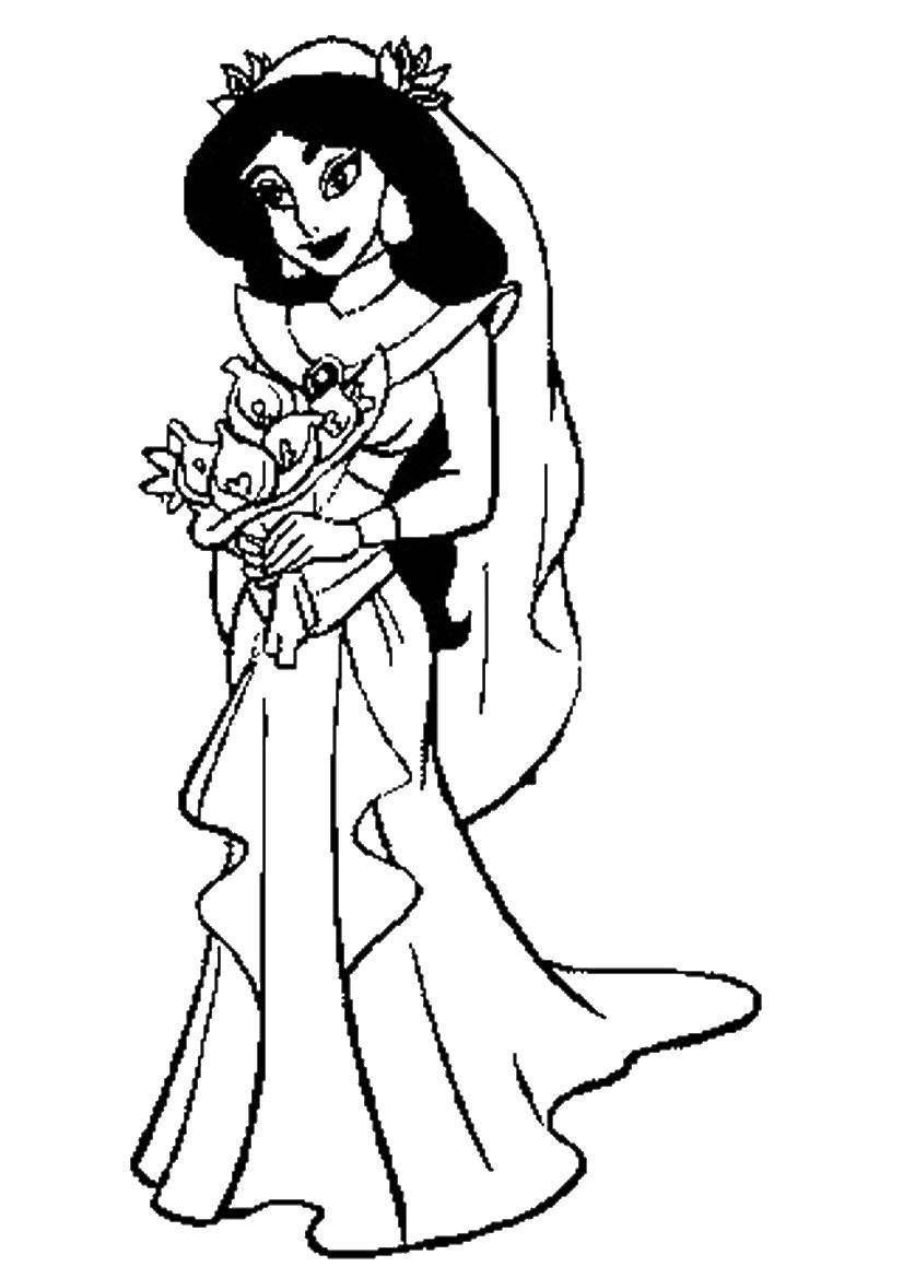 Раскраски жасмин, Раскраска Жасмин в свадебном платье ...