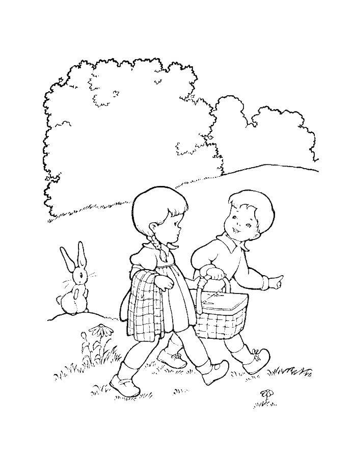 Coloring A boy with a girl walking through the woods Download forest, nature, kids, Bunny.  Print ,the forest,