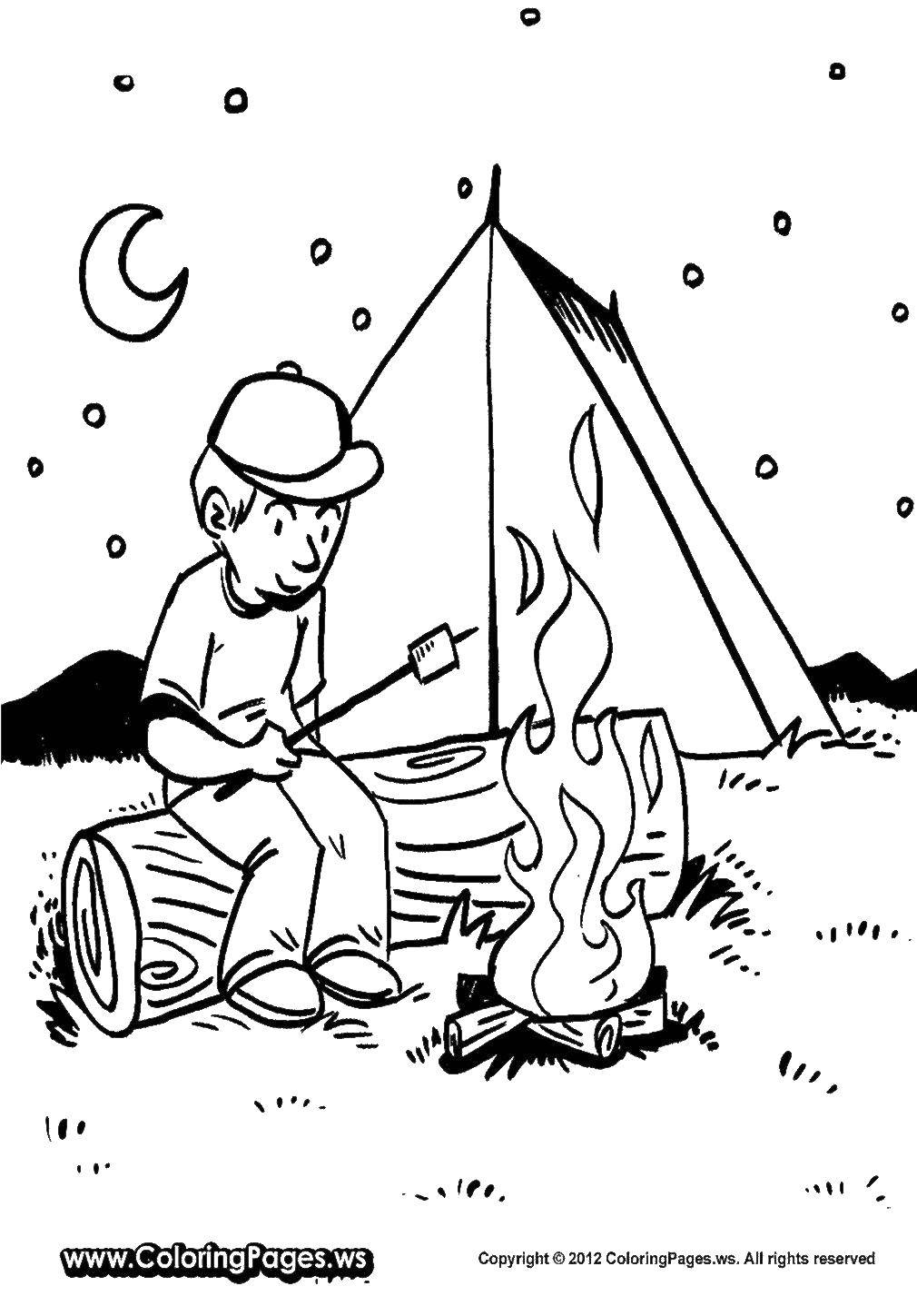 Coloring sheet Camping Download children, school, cleaning.  Print ,school,