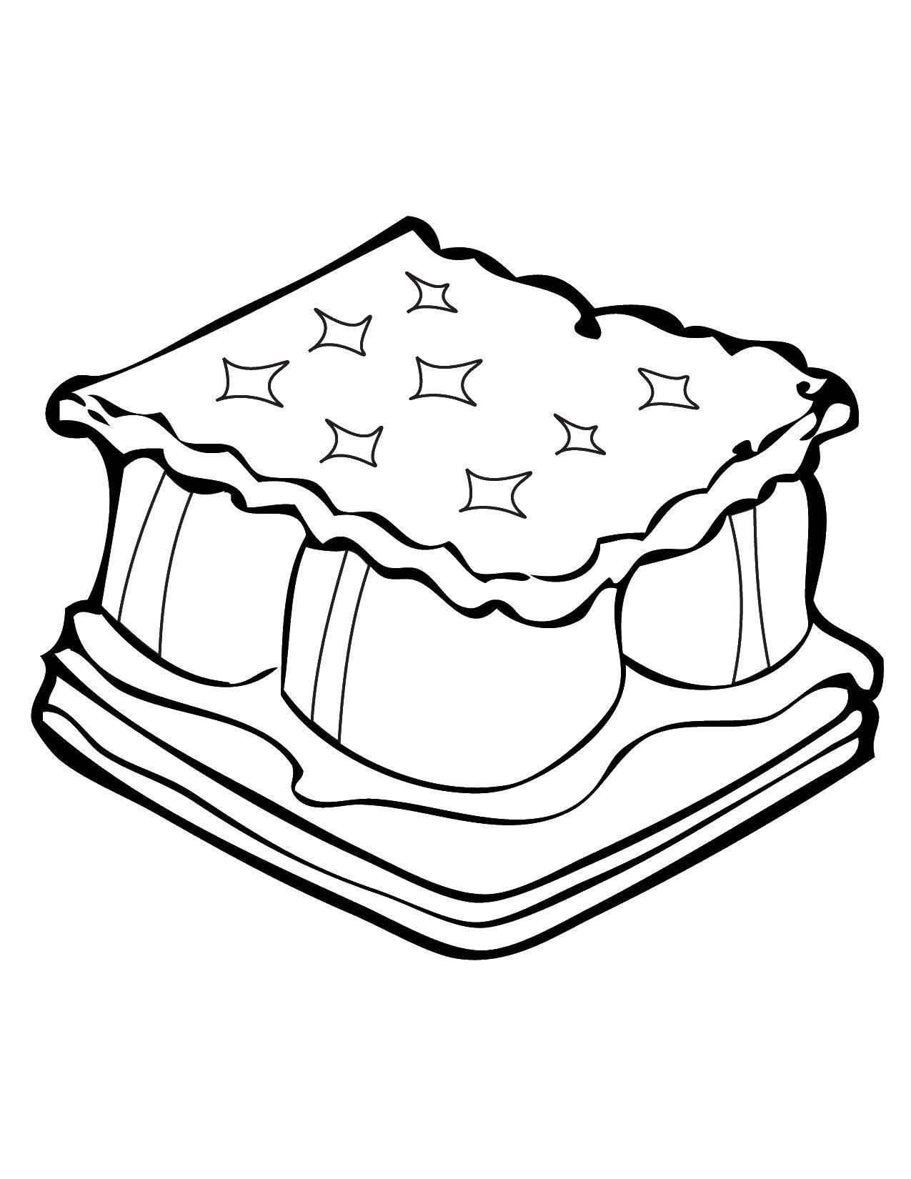 Раскраска пирожок для детей распечатать