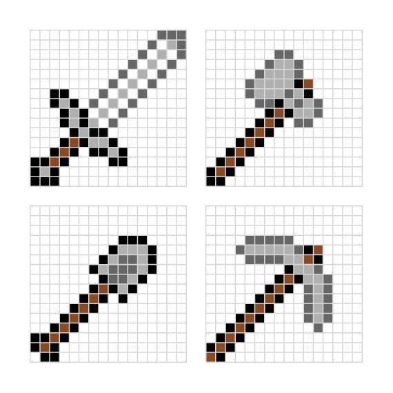 Раскраска Оружия майнкрафта Скачать ,топор, меч, лопата,.  Распечатать