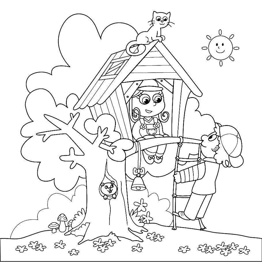 Раскраски развлечения, Раскраска Домик на дереве у детей с ...