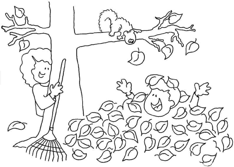 Coloring The squirrel watches as the children clean leaves Download Forest, autumn, leaves, children, trees, squirrel, rake.  Print ,the forest,