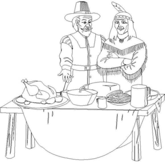 Coloring sheet The Indians Download leaf.  Print ,The contours of the leaves,