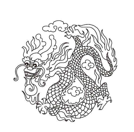 Coloring The fire dragon. Category Religion. Tags:  religion, China.