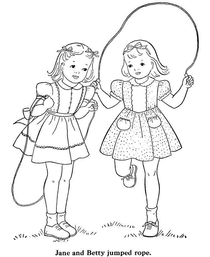 Раскраска Прыжок Скачать ,скакалка, девочки,.  Распечатать