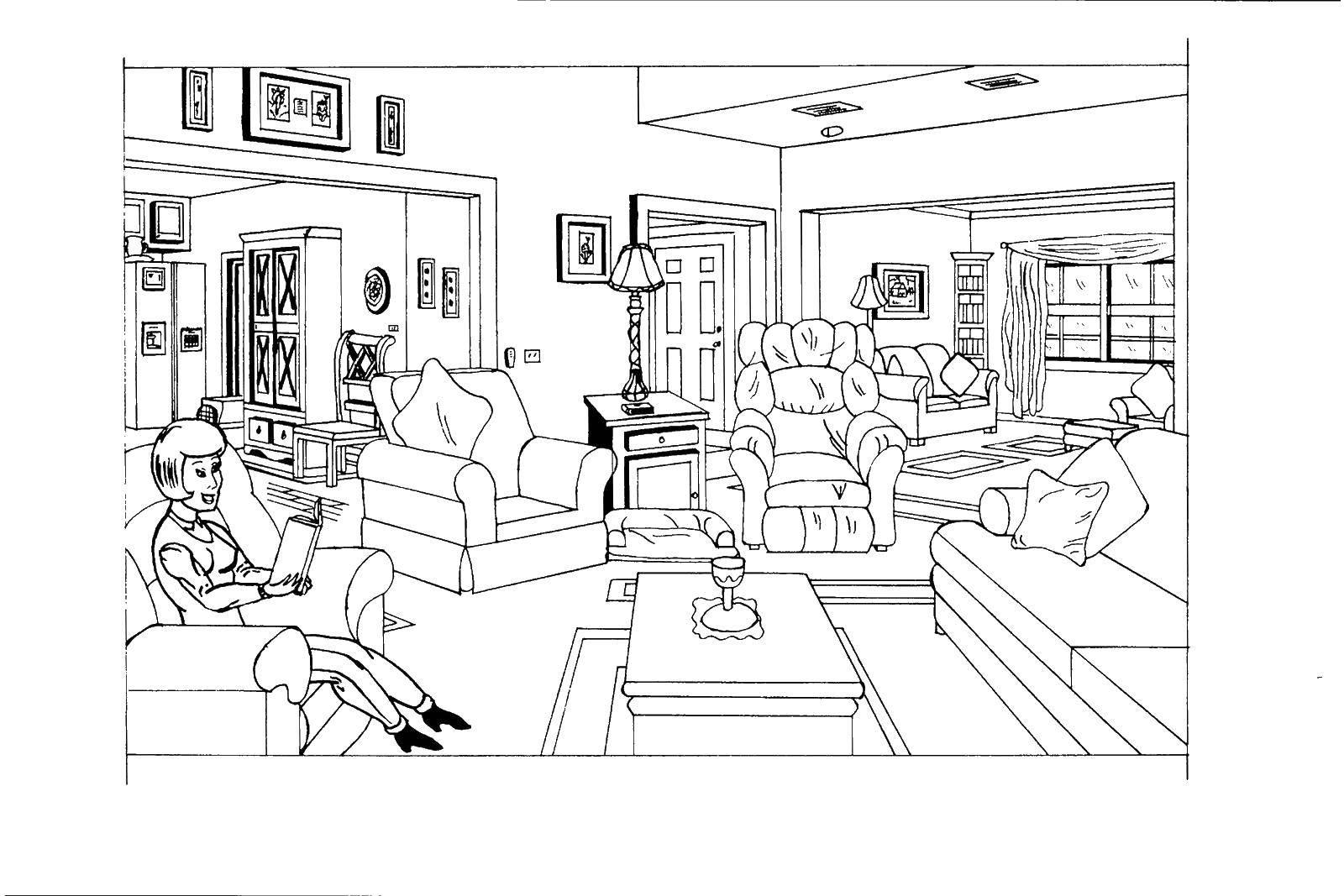 Раскраска комнаты в квартире