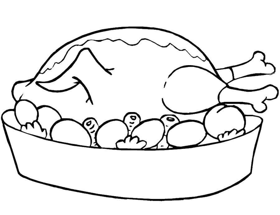 Раскраска Мясо Скачать ,мясо, индейка, овощи,.  Распечатать