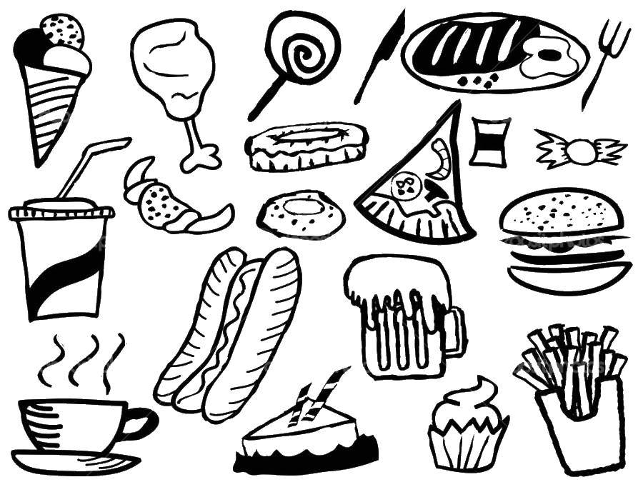 Coloring sheet Hamburger Download Girl , autumn, rain, umbrella.  Print ,children,