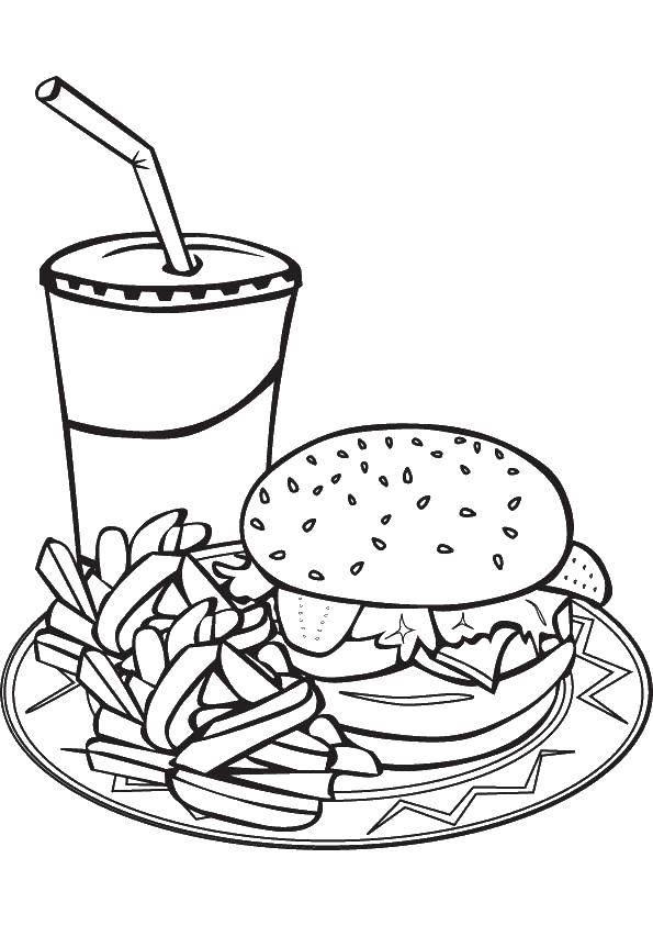 Раскраски гамбургер, Раскраска Гамбургер с фри и напиток Еда.